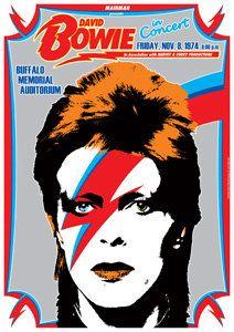 DAVID BOWIE  8 November 1974 Buffalo Memorial Auditorium - artistic retro concert poster. €10.00, via Etsy.