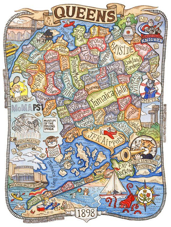 Map Of Queens Ny Queens New York Map Art Print 16