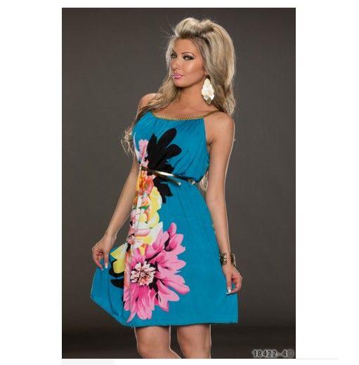 Krátké dámské letní šaty k moři na ramínka modré – letní šaty + POŠTOVNÉ  ZDARMA Na 0f7d5a9ace
