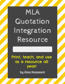 Mla Quote This One Page Resource Sheet Is An Easy Reference For Integrating .