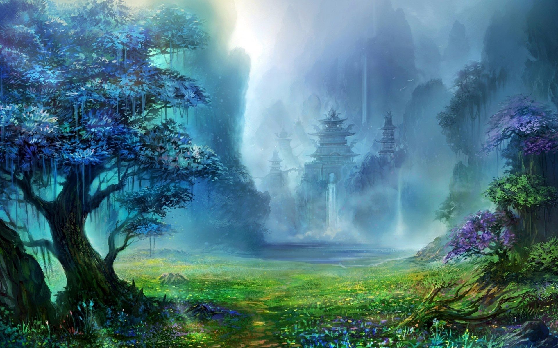 Fantasy Forest Wallpaper High Quality Resolution With Wallpaper Hd Resolution On Fantasy Category Similar W Fantasy Landscape Waterfall Artwork Castle Painting