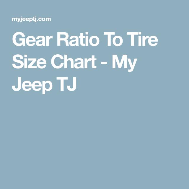 Gear Ratio To Tire Size Chart - My Jeep TJ | jeep wrangler