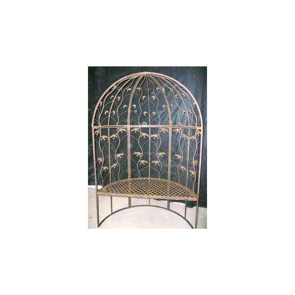 Gloriette de forme demi lune avec banc int gr en fer for Gloriette de jardin en fer forge
