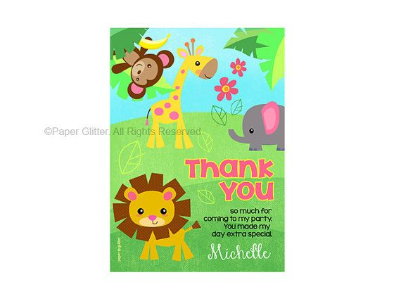 Safari Jungle Animal Zoo Party Invitation for girly birthday or baby shower Thank You Card Printable PDF or JPG