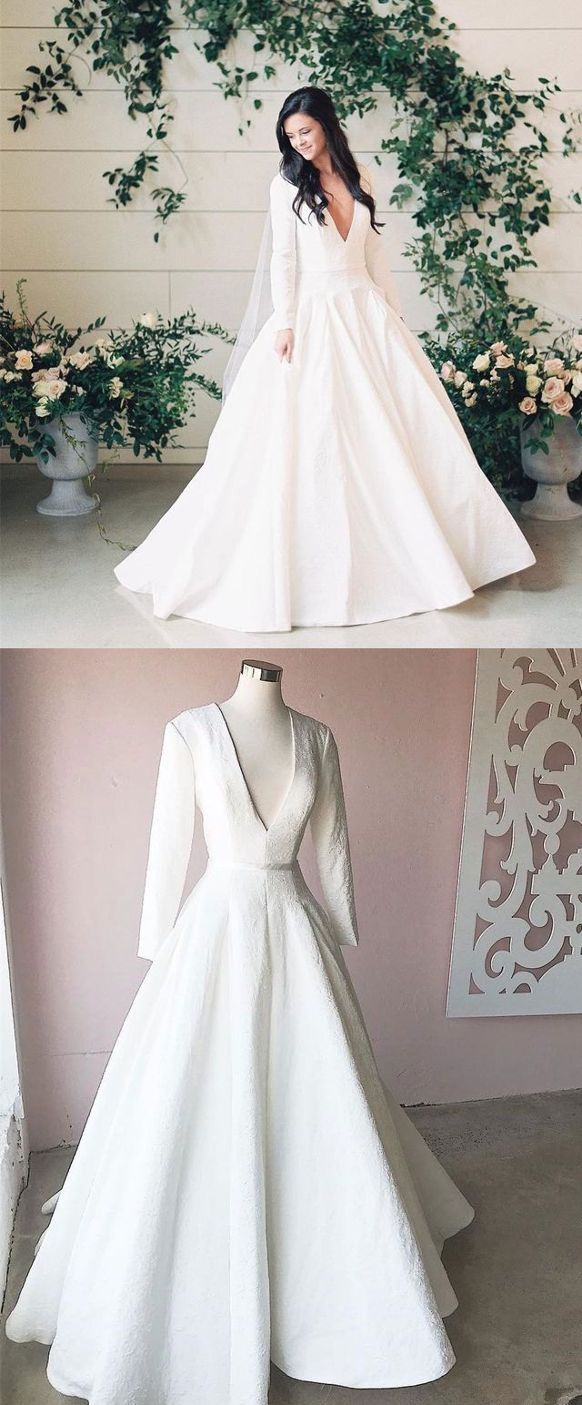Charming deep v neck wedding dress bridal dress with long sleeves
