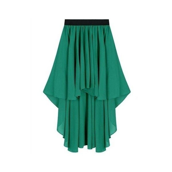 Lily - Jade Green High Low Asymmetric Skirt ❤ liked on Polyvore
