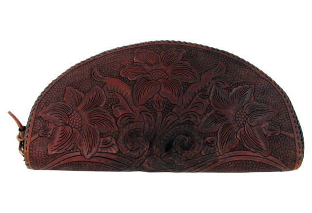 Antique Tooled Leather Clutch