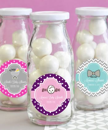 "Baby Shower Personalized Milk Bottles - Baby is on the way and everyone is excited to shower the mom-to-be with gifts. Say ""thank you"" by sending guests off with these baby shower personalized milk bottles. http://www.favorfavorbaby.com/p-EB2302BZ.htm"
