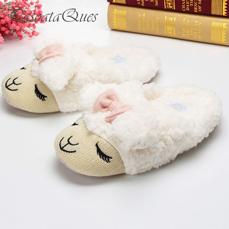 835e5637038 Cute Sheep Animal Cartoon Women Winter Home Slippers For Indoor Bedroom  House Warm Cotton Shoes Adult