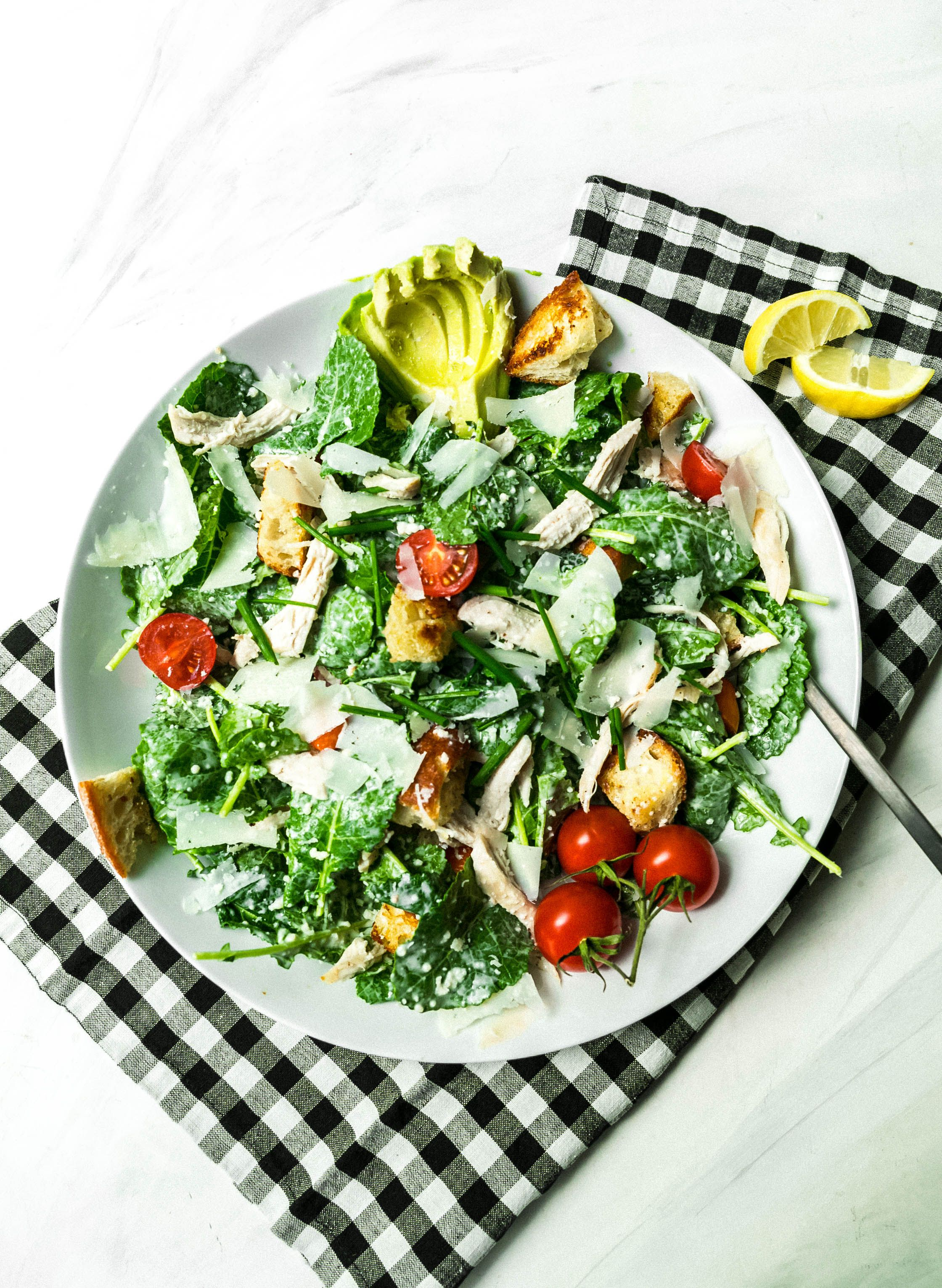 Kale Buttermilk Caesar With Roasted Chicken Roasted Chicken Dinner Salads Hearty Dinner