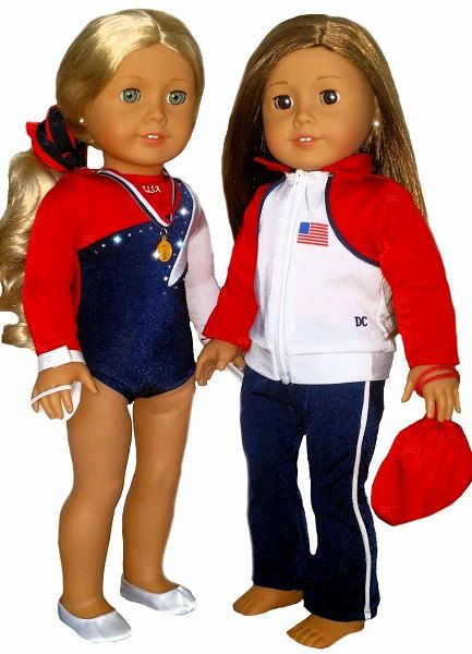 18 Inch Girls Doll Gymnastics Set with Uniform Trampoline and Floor Mat Kids Toy