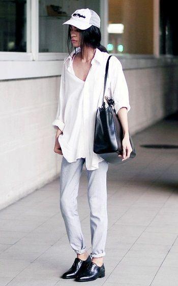 CasquetteChemise Noir Et Blanche Pantalon BlancSac Chaussures vNOw8nm0