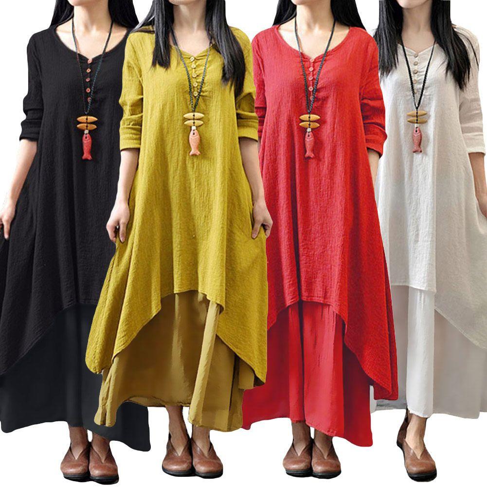 Romacci women boho dress casual irregular maxi dresses vintage loose