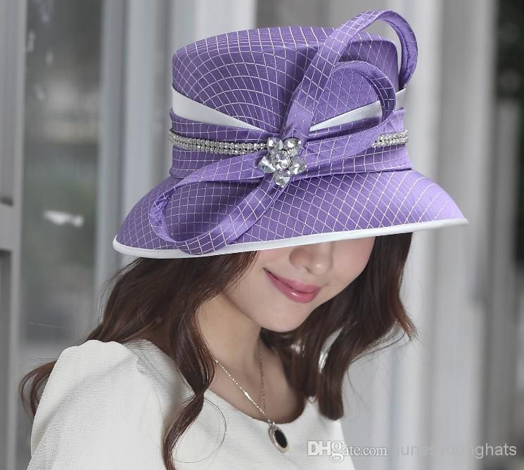 Women Hat Formal Hat Church Hat Dress Hat Party Hat Caps Millinery Chapeau  Ladies  100% Polyester Purple Color Elagant Newly Designed Online with ... d8b485ce740f