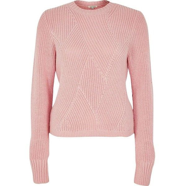 River Island Pink stitch sweater (240 PLN) ❤ liked on Polyvore ...