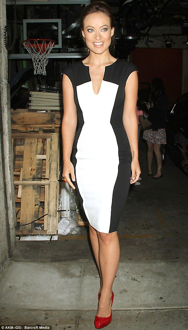 Marvelous in monochrome  Olivia Wilde slipped into monochrome shift dress  to appear on the Live! with Kelly and Michael in New York today c4c6e30db