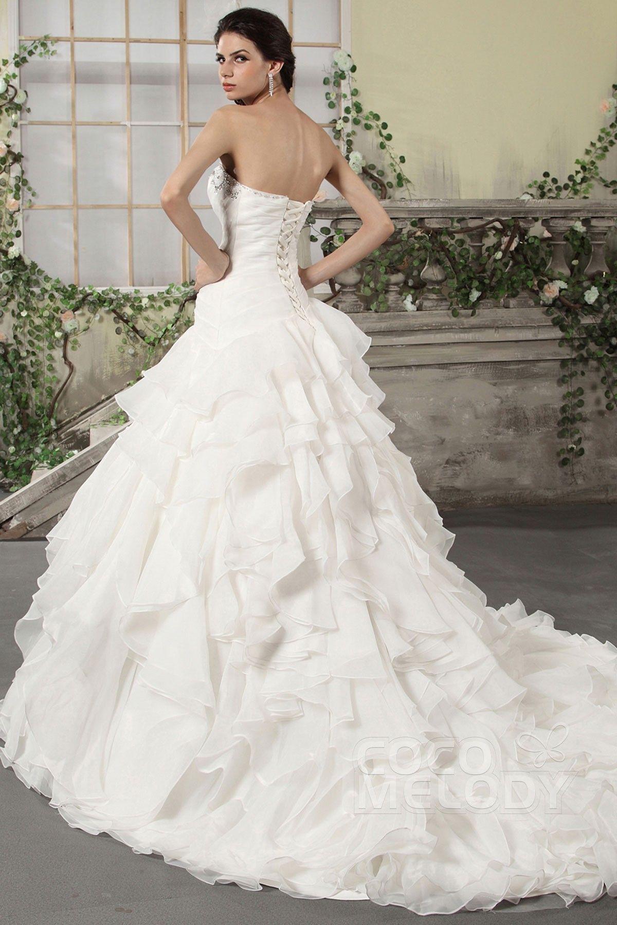 Fairytale princess strapless chapel train organza wedding