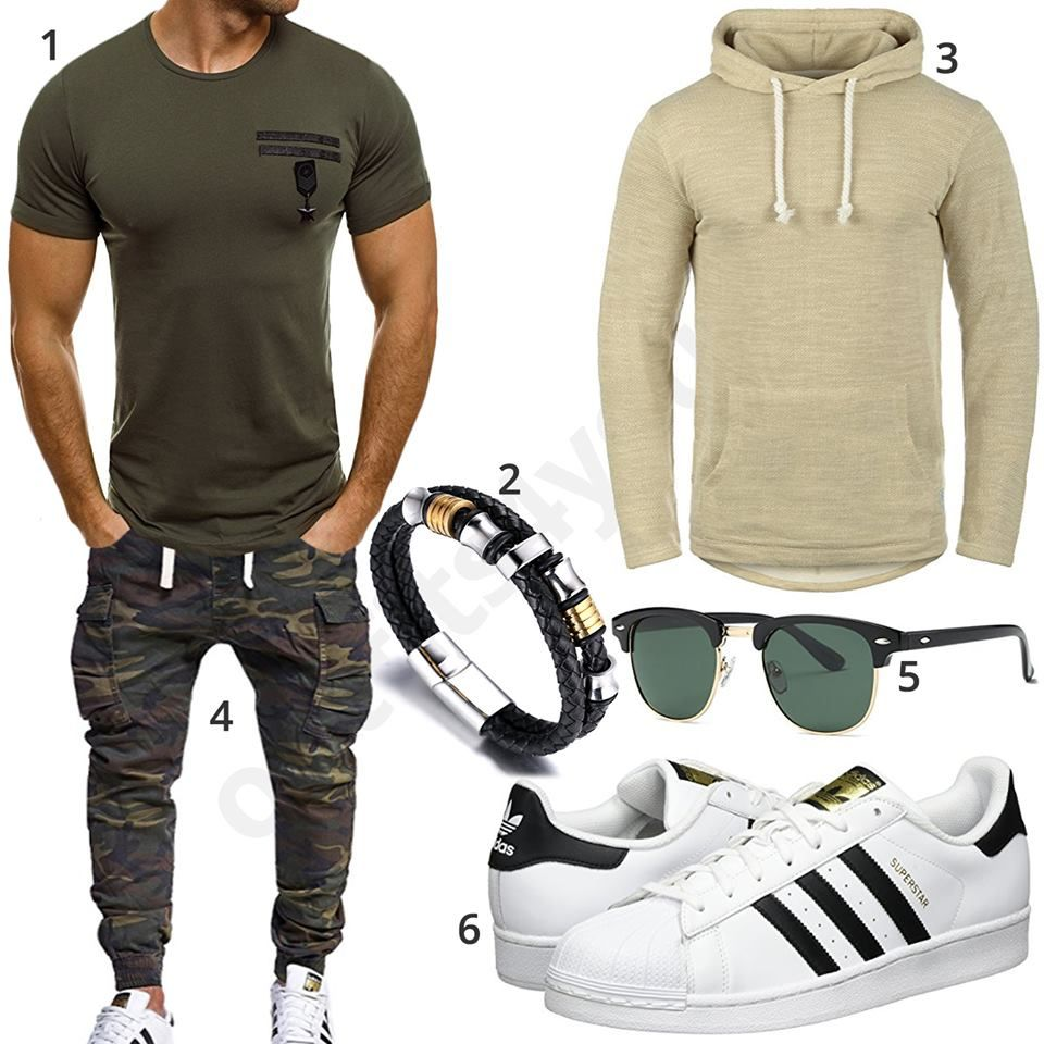 Männer Outfit mit Military Style und Jogg Jeans (m0568