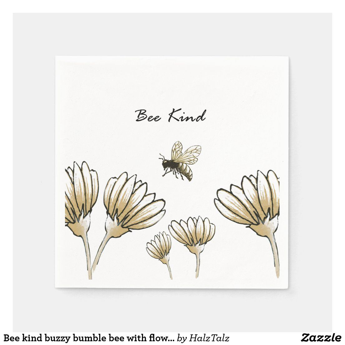 Bee Kind Buzzy Bumble Bee With Flowers Napkin