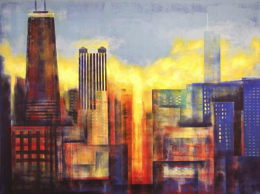 Canvas Art Print From A Painting of Chicago - \