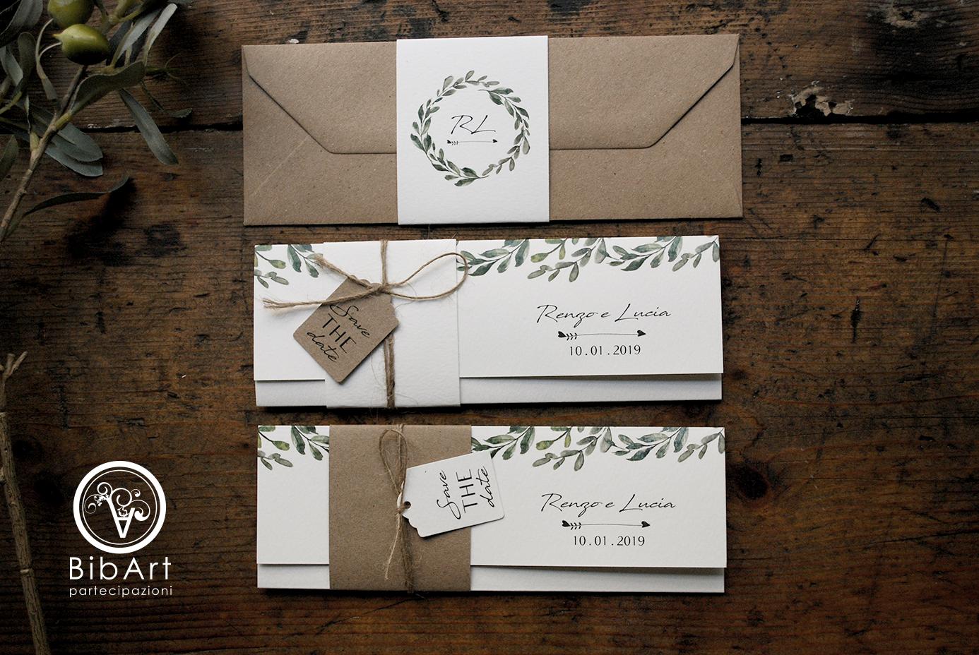 Partecipazioni Matrimonio 0 50 Cent.Rustic Invitation Green Wreath Kraft Envelope Invito Country