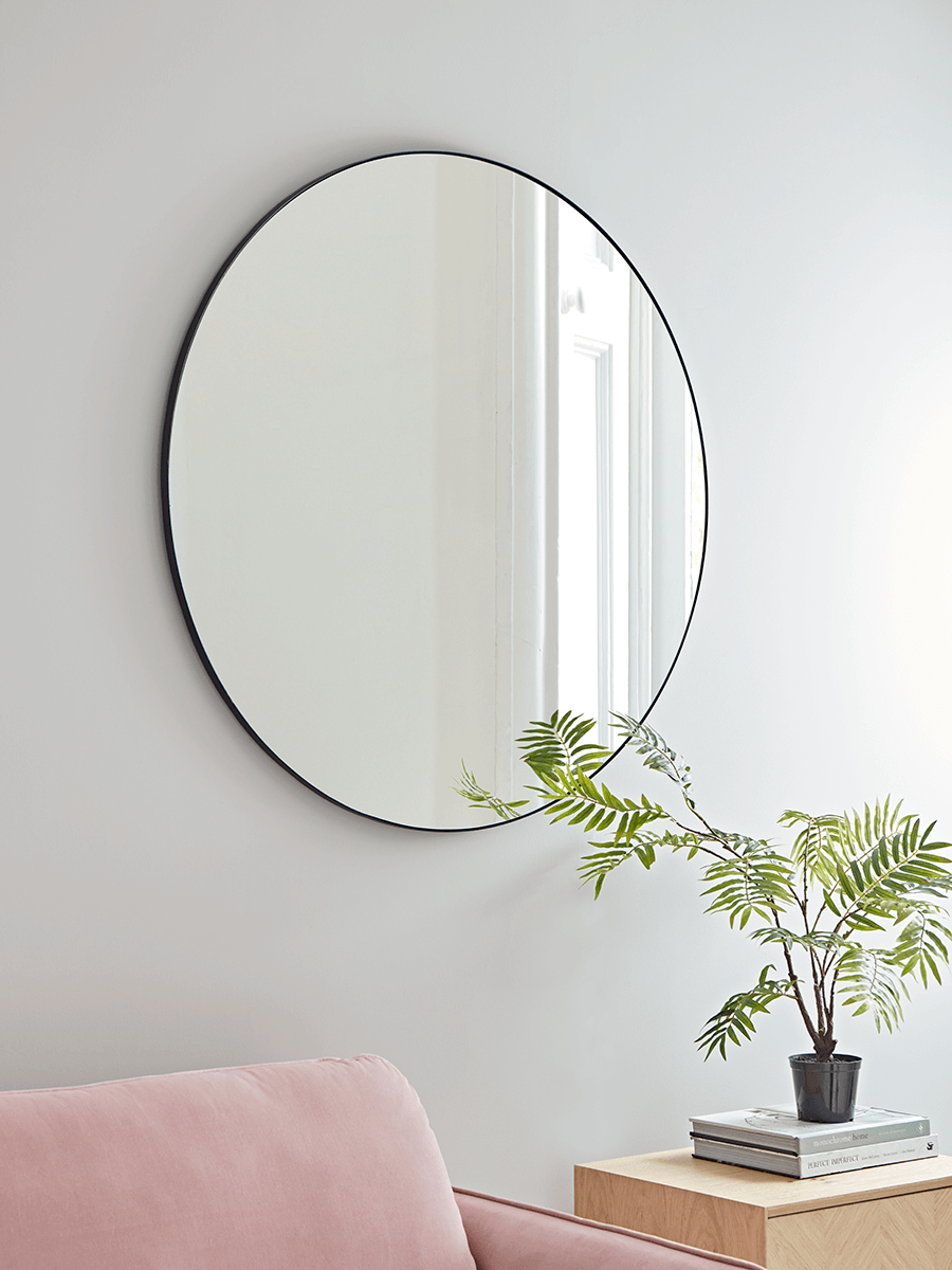 New slim black frame round mirror hallway pinterest round