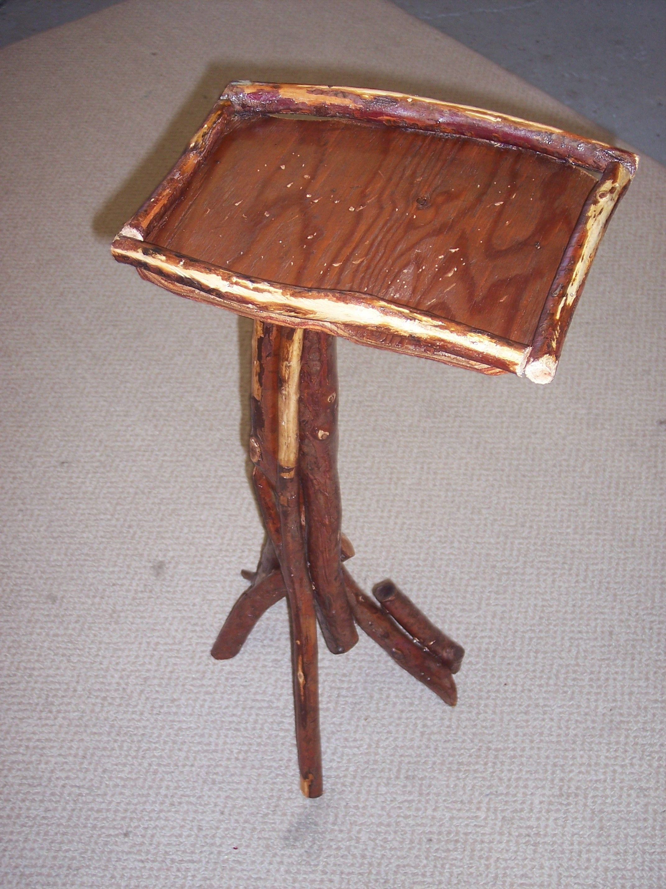 stick legs and tray top occassional table