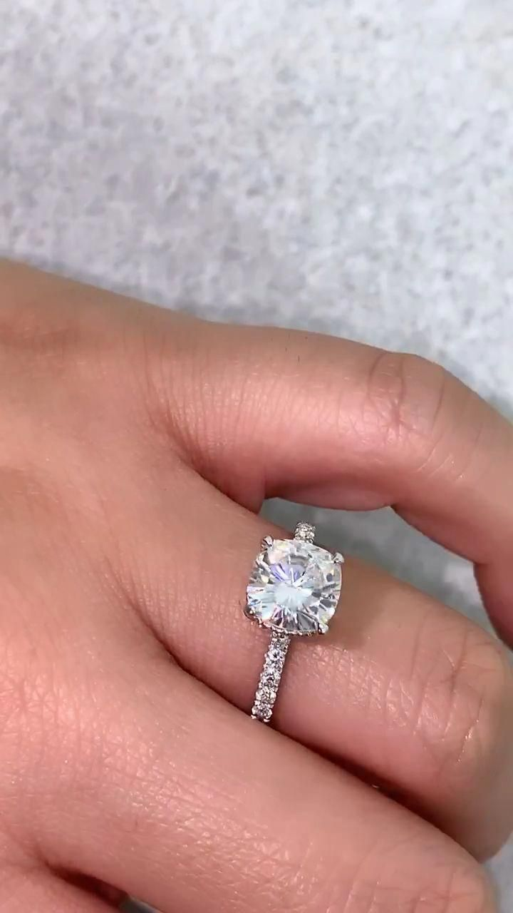 Moissanite engagement ring vintage engagement ring women white gold wedding Oval Marquise cut halo Cluster bridal Flower Anniversary gift #cushionengagementring