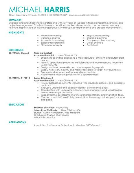 Accounting Sample Resume Unique Accounting & Finance Resume Examples  Accounting & Finance Sample .