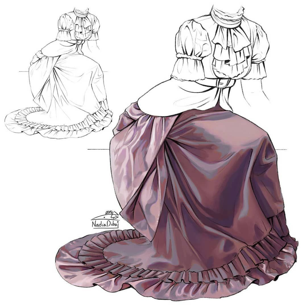 Nadiadibaj On Instagram Fabric Studies I Forgot To Record The Last Seconds Of The Process Www Artsta Art Clothes Digital Art Tutorial Art Reference Poses