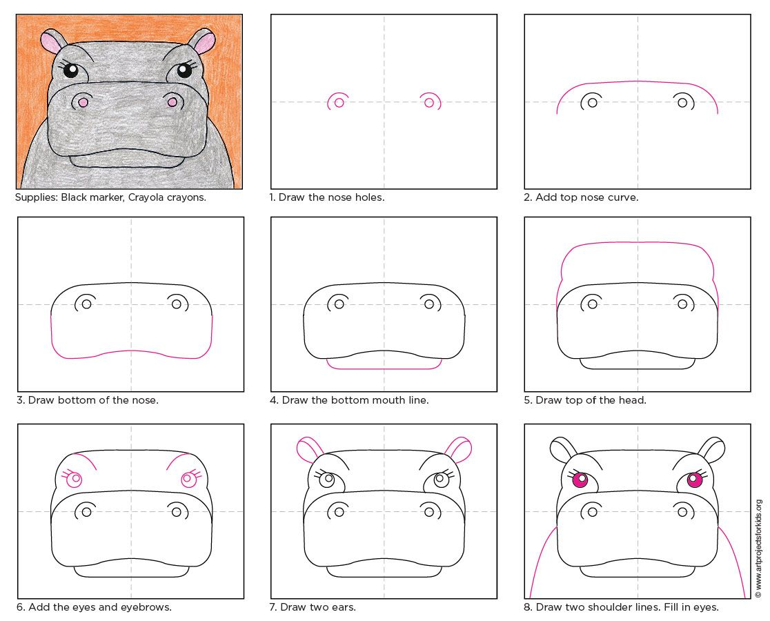 Draw a Hippo Face | Tutorials, Drawings and Drawing ideas  Draw a Hippo Fa...