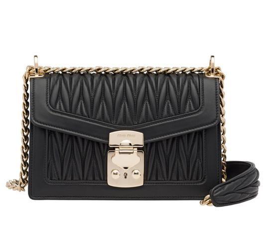 159f6e696c2e Miu Miu Small Confidential Matelasse Black Convertible Calfskin Leather  Cross Body Bag - Tradesy