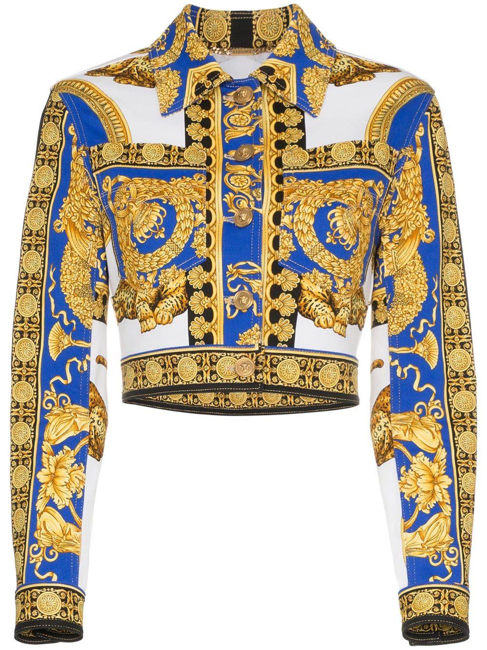 0aa18c4e Versace Pillow Talk print cropped denim jacket   Costumes/ Fashion ...