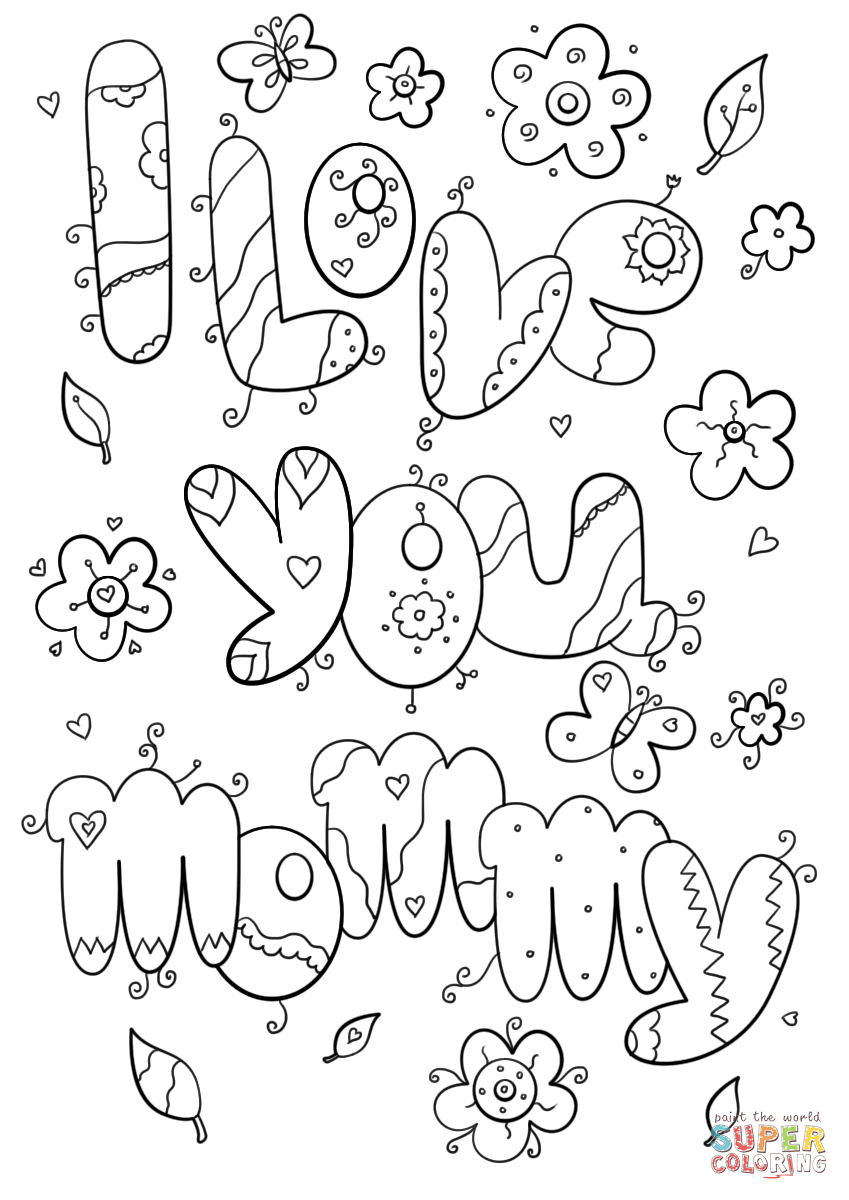 I Love You Mommy coloring page