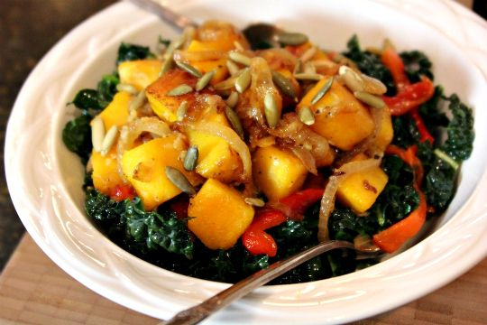 Kale Salad, Kale with Caramelized Squash and Onions - omit oil and butter and experiment with the dressing! i.e. change the recipe :-)