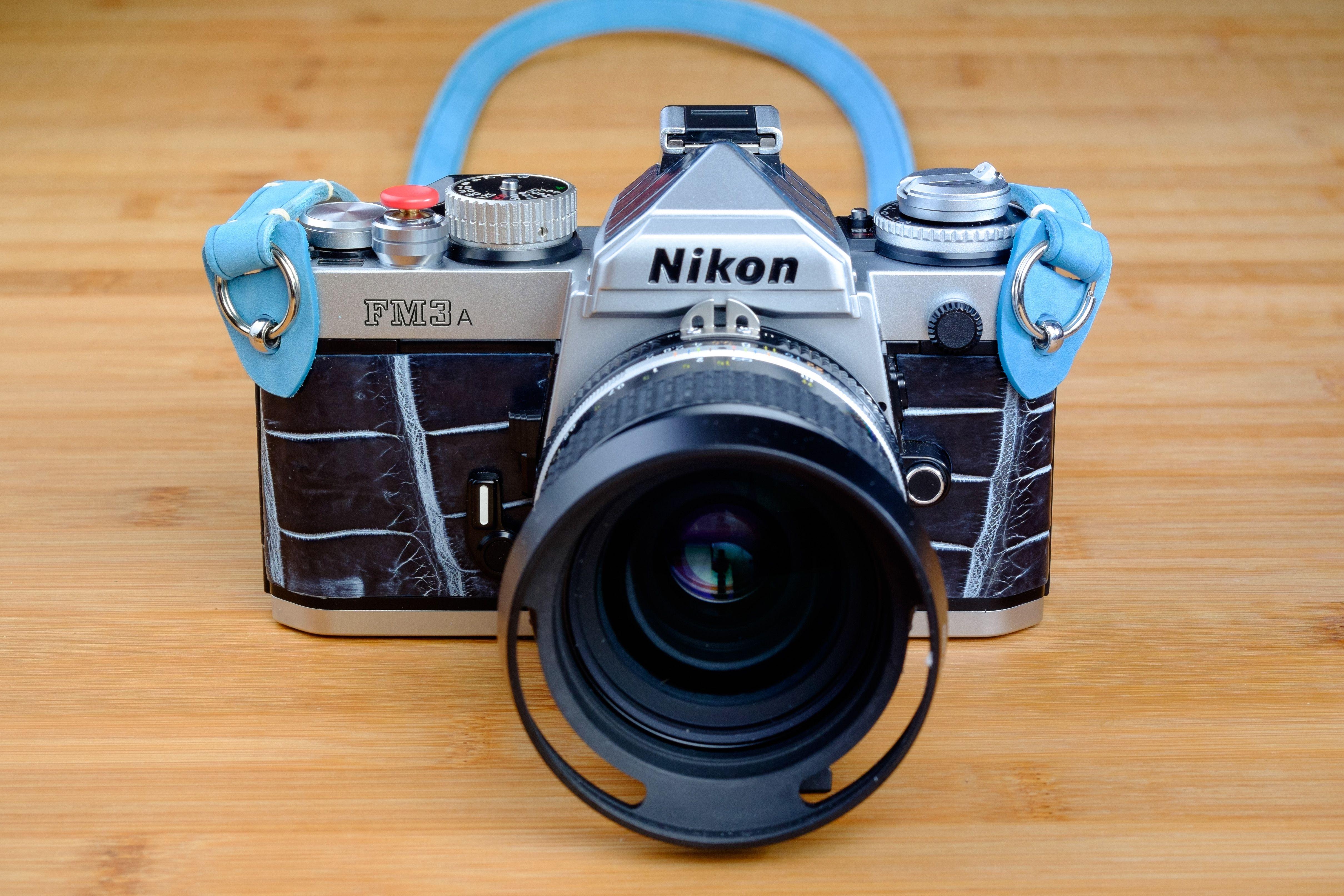 Nikon Fm3a Customized Blue Leather Strap And Genuine