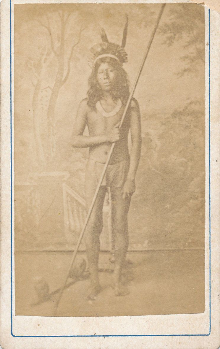 Native America Indian with Blowpipe South America possibly Chile C1875