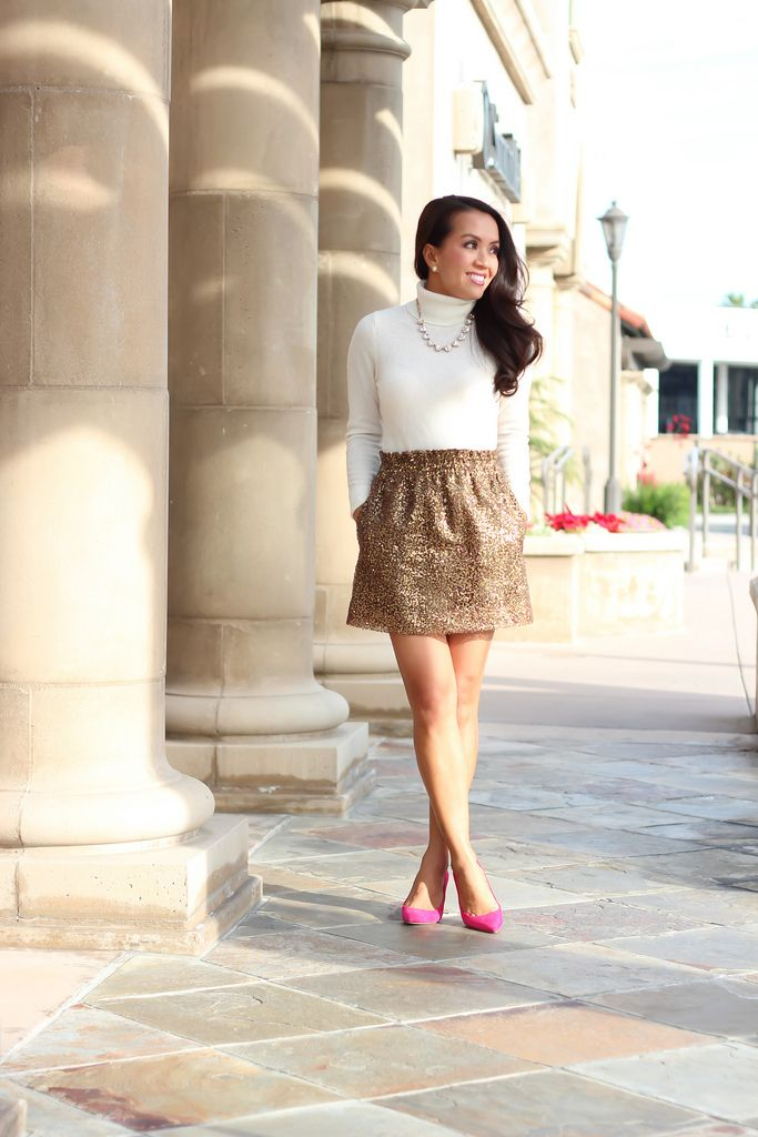 Holiday Party or New Years Eve Outfit  Gold Sequin skirt - Cashmere  turtleneck sweater - 7b2558aa2