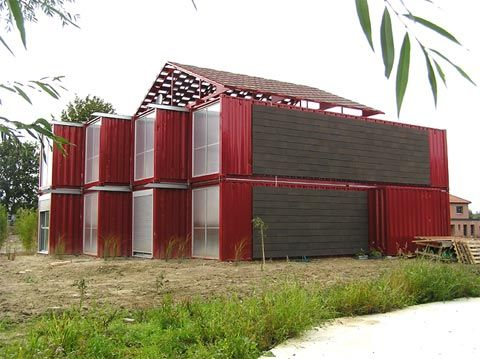 The Lille Red Shipping Container House In France Architect Patrick Partouche Designed This Two Le Container House Shipping Container Homes Container Buildings