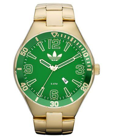 de múltiples fines ornamento Inactivo  Adidas Watch Green Dial Gold Ion Plated Stainless Steel Bracelet ...