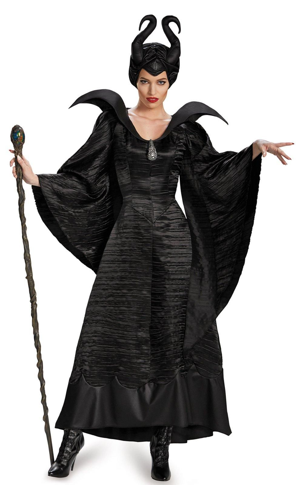 Womens Black Maleficent Full Set  Queen Costume Cosplay Fancy Dress Halloween US