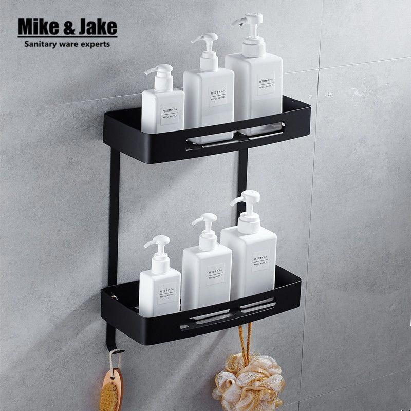Black Bathroom Shelves Stainless Steel 304 Black Bathroom Corner Shelf Shower Room Rack For Body Wash Douche