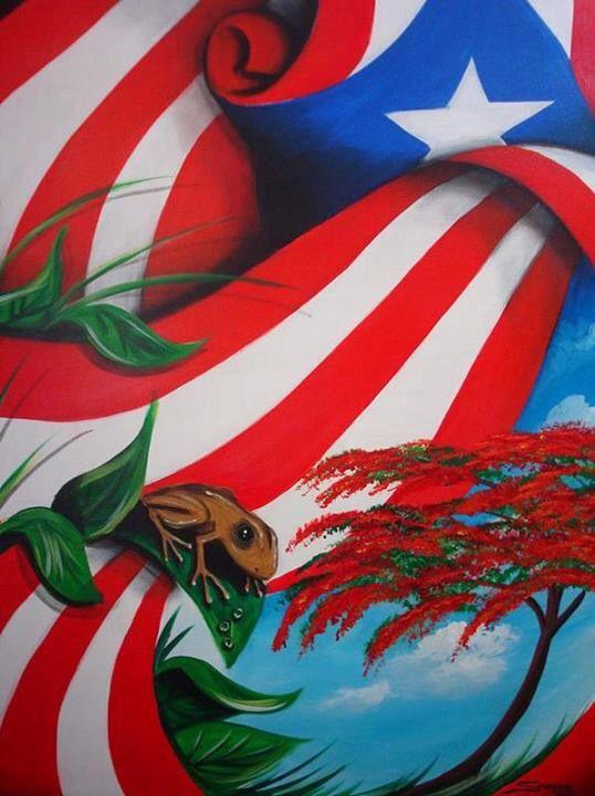Puerto Rican Flag Tree Frog Puerto Rico Art Puerto Rican Flag Puerto Rican Artwork