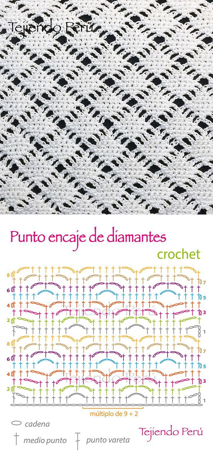 Crochet: diagrama del punto encaje de diamantes! | Puntos fantasía ...