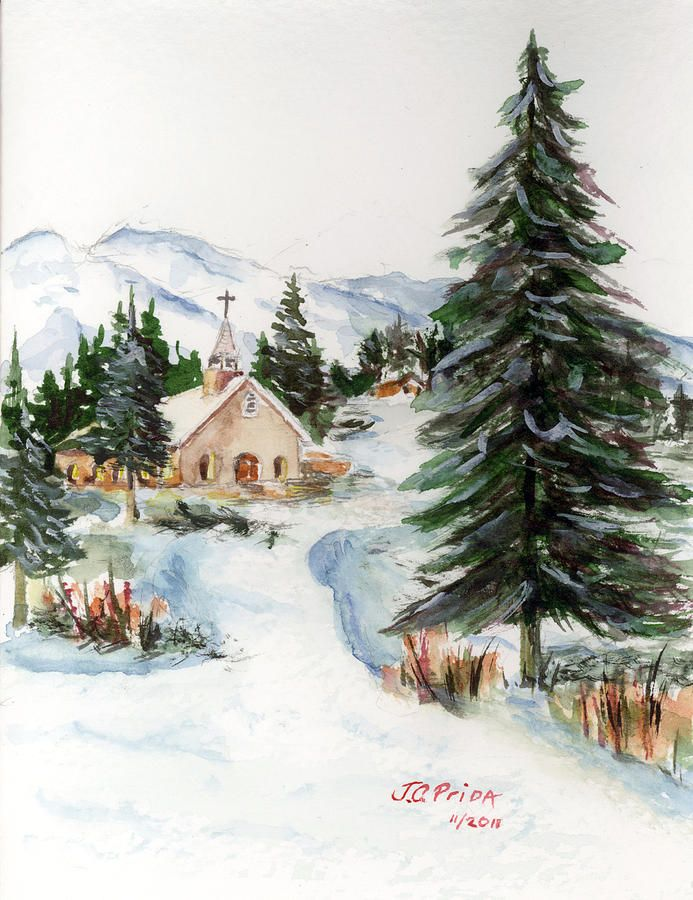 Country church in winter painting by jc prida my dad 39 s Christmas card scenes to paint