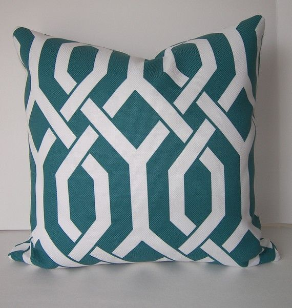 Decorative Pillow Cover - P Kaufmann - Indoor - Outdoor - On Both Sides - Teal - White - 18x18 inches. $42.00, via Etsy.