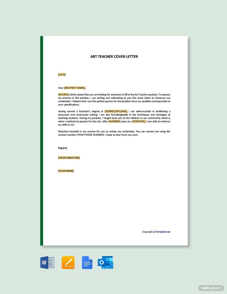 Art Teacher Cover Letter Template Free Pdf Google Docs Word Template Net Cover Letter Template Cover Letter Template Free Cover Letter