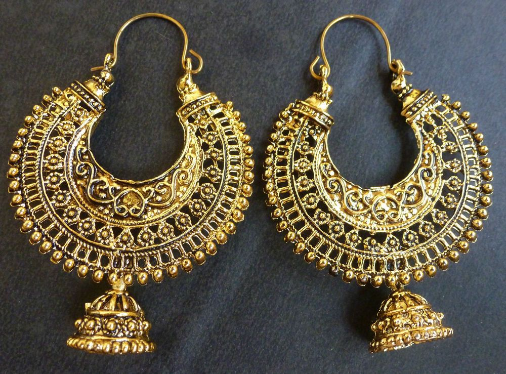 Vintage Antique Gold Plated Ring Chand Bali Indian Jhumka Earrings