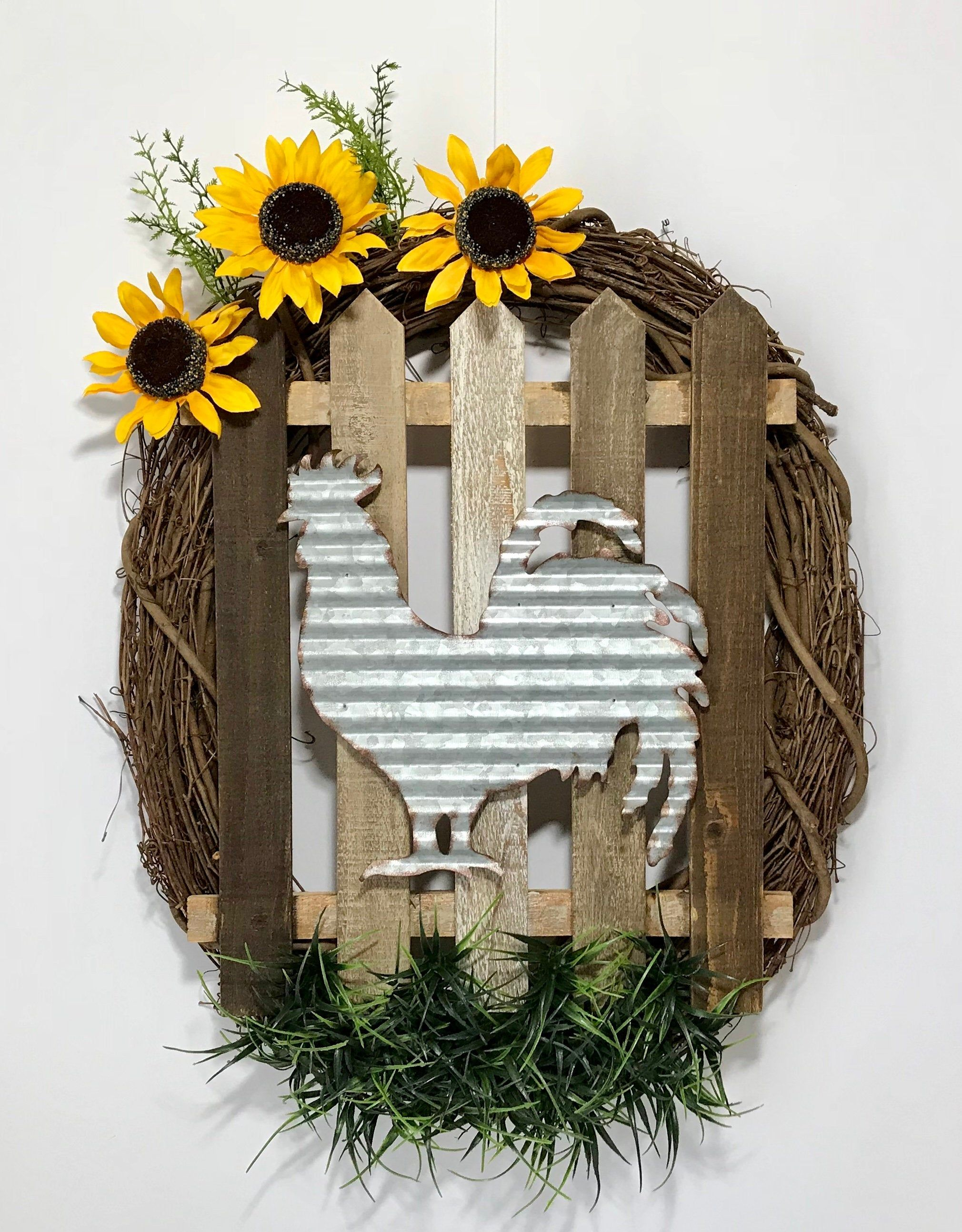Photo of Oval grapevine wreath, rooster sign sunflower fence wreath, summer flower front door wall wreath, summer sunflower decor, handmade, new