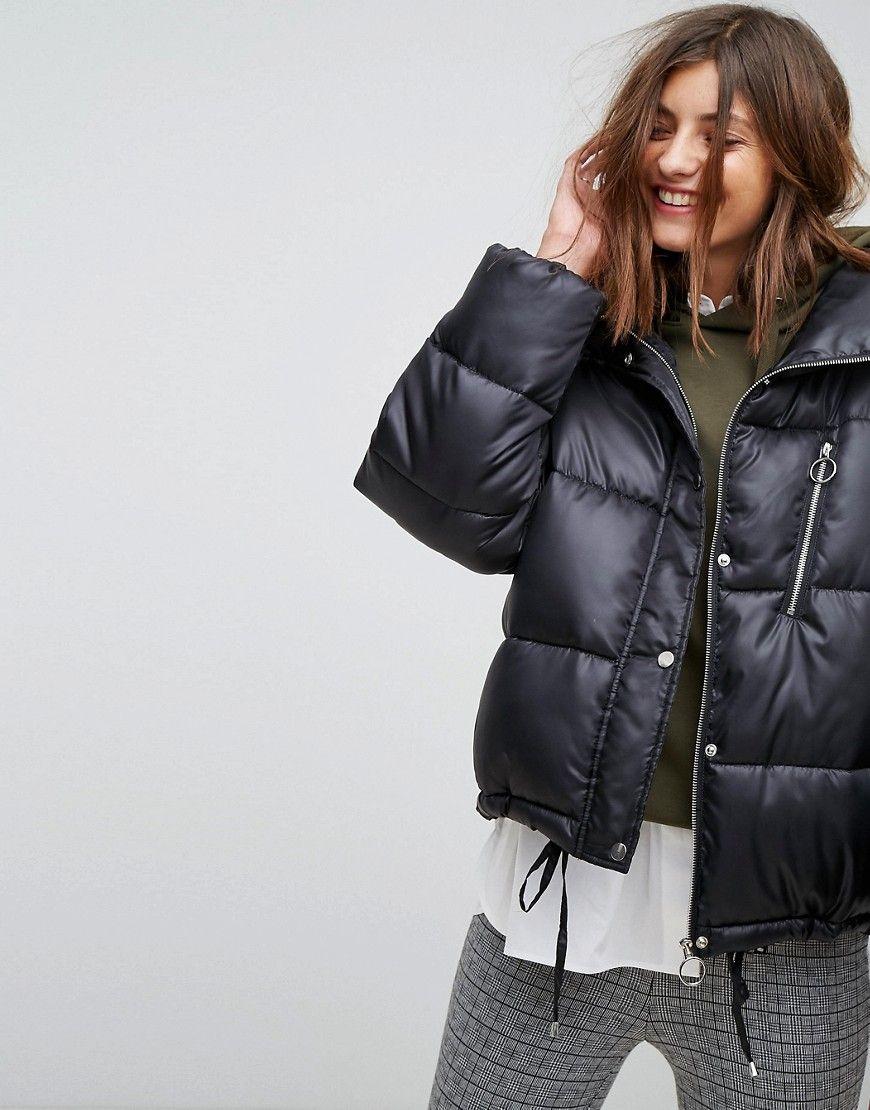 912249de5 Stradivarius Puffer Jacket - Black | outerwear | Jackets, Puffer ...